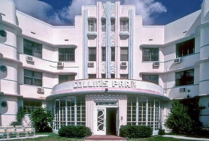 The tropical Art Deco-style Collins Park  Hotel, Miami Beach
